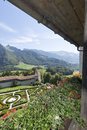 Gruyères village the saane valley and the castle gardens seen from the castle is in the canton of fribourg switzerland Royalty Free Stock Images