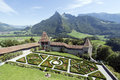 Gruyères village the saane valley and the castle gardens seen from the castle is in the canton of fribourg switzerland Stock Photos