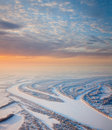 Gteat river in winter morning aerial view of great plain on the snow covered plain time of Royalty Free Stock Photography