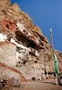 Gu pu er temple in precipice full view burang county Royalty Free Stock Photos