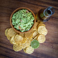 Guacamole chips beer corn and Stock Photography