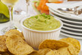 Guacamole with Corn Chips Stock Image