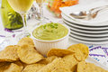Guacamole with Corn Chips Celebration Stock Photo