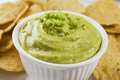 Guacamole with Corn Chips Close-up Royalty Free Stock Photos