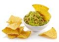 Guacamole dip and nachos Royalty Free Stock Photo