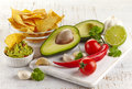 Guacamole dip and nachos ingredients for on white wooden background Stock Image