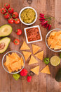 Guacamole and nacho chips. Royalty Free Stock Photo