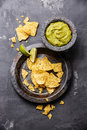 Guacamole with nachos chips Royalty Free Stock Photo