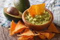 Guacamole sauce, nachos and avocado closeup. Horizontal Royalty Free Stock Photo