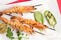 Guacamole Spicy Whole Grilled Shrimps Royalty Free Stock Photo