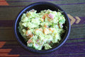 Guacamole in stone bowl Royalty Free Stock Photo
