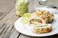 Guacamole stuffed crumbs lime chicken the toning selective focus Stock Images