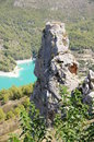 Guadalest torreon y lago alicante spain tower of castle on the top of a rock with lake the fund Stock Photos