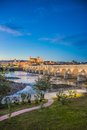 Guadalquivir river in cordoba andalusia spain as it passes through the city of the province of Royalty Free Stock Image