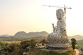 The guan yin goddess giant statue under twilight sky of compassion and mercy yim constructed in thai temple Royalty Free Stock Photos