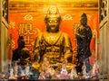 Guan yin kwan yin goddess golden statue at temple Royalty Free Stock Photos
