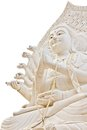Guan yin statue on white background with clipping path Royalty Free Stock Image