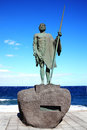 Guanches chief ajona candelaria tenerife statue of a at canary islands spain who were the original aboriginal berber inhabitants Royalty Free Stock Image