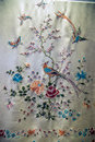 Guangdong embroidery art, Caragana flower butterfly pattern shawl. Royalty Free Stock Photo