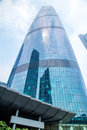 Guangzhou City, south of the Pearl River Metro landmark building. The deep blue glass curtain wall building.