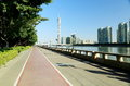 urban city stree sidewalk canton tower Guangzhou Royalty Free Stock Photo