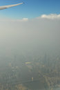 Guangzhou in fog and haze china city under air pollution air pollution of guangzhou city china guangzhou tower in haze the blue Royalty Free Stock Photo