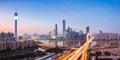 Guangzhou panorama in nightfall panoramic view of skyline Royalty Free Stock Photography