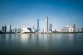 Guangzhou skyline in daytime and pearl river long exposure time Stock Photo
