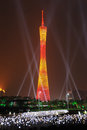 Guangzhou Tower at night Stock Photo