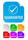 Guarantee check mark,square stickers Stock Photos
