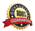 Guaranteed label with gold badge sign d render Royalty Free Stock Images