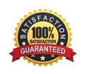 Guaranteed label with gold badge sign d render Royalty Free Stock Photos