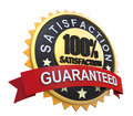 Guaranteed label with gold badge sign d render Stock Photos