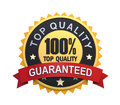 Guaranteed label with gold badge sign d render Royalty Free Stock Photography