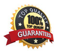 Guaranteed label with gold badge sign d render Stock Photography