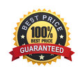 Guaranteed label with gold badge sign d render Stock Image
