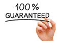 Guaranteed percent hand writing with black marker on transparent wipe board Royalty Free Stock Image