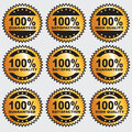 Guaranteed vector label set of nine gold labels Royalty Free Stock Image