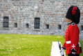On guard at the citadelle quebec city is a military installation and official residence located atop cap diamant adjoining plains Stock Photography