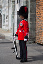 On guard at the citadelle quebec city is a military installation and official residence located atop cap diamant adjoining plains Royalty Free Stock Photo