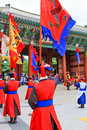 Guard of the deoksugung palace korea traditional in Royalty Free Stock Photography