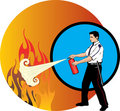 Guard extinguishing fire Stock Photo