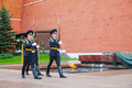 Guard of honor at the Kremlin wall in Moscow, Russia Stock Images