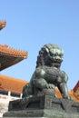 Guard lion in forbidden city Stock Photos