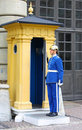 Guard near the Royal Palace in Stockholm Royalty Free Stock Photography