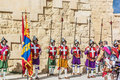 In guardia parade at st jonh s cavalier in birgu malta nov re enactment portraying the inspection of the fort and its garrison by Royalty Free Stock Images