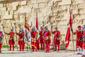 In guardia parade at st jonh s cavalier in birgu malta nov re enactment portraying the inspection of the fort and its garrison by Stock Photo