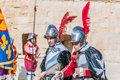 In guardia parade at st jonh s cavalier in birgu malta nov re enactment portraying the inspection of the fort and its garrison by Royalty Free Stock Photos