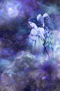 Guardian angel deep space blue background with amongst clouds looking down with thoughtful expression Stock Image