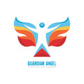 Guardian angel - vector logo template concept illustration. Human character with colored wings. Butterfly sign. Christmas symbol